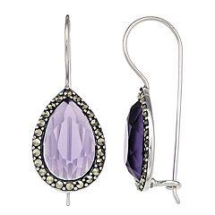 Tori Hill Marcasite & Purple Glass Teardrop Earrings