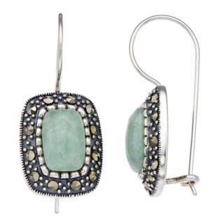 Tori Hill Genuine Marcasite & Jade Square Drop Earrings