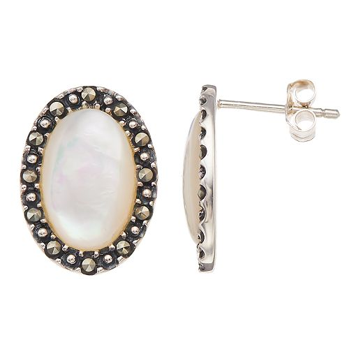 615d72b88 Tori Hill Marcasite & Mother of Pearl Oval Studs