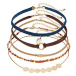 Mudd® Gold Tone Disc & Bead Detail Cord Choker Necklace Set