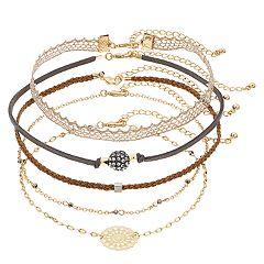 Mudd® Gold Tone Simulated Stone Filigree Charm & Lace Choker Necklace Set