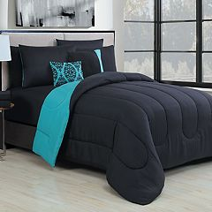 Solid 9-piece Reversible Comforter Set