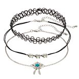Mudd® Silver Tone Elephant & Bird Nest Charm Choker Necklace Set