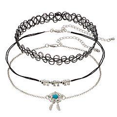 Mudd® Silver Tone Elephant & Bird Nest Charm Choker Necklace Set
