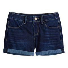 Girls 7-16 SO® Knit Denim Shortie Shorts