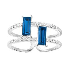 Brilliance Blue Emerald Cut Silver Tone Ring with Swarovski Crystal