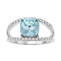 Brilliance Azure Silver Tone Ring with Swarovski Crystal