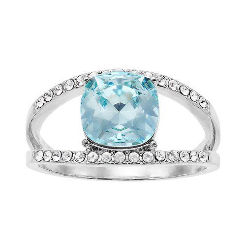 Brilliance Azure Silver Tone Ring with Swarovski Crystal