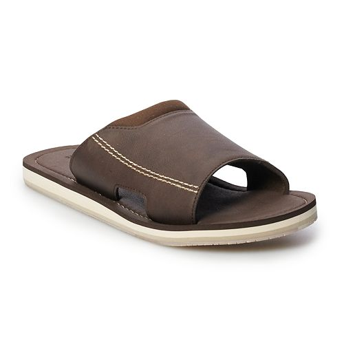 Men's Dockers Faux Leather Elastic Slide Flip-Flops