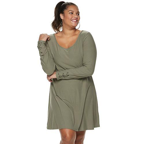 Juniors' Plus Size Mudd® Lace-Up Sleeve Dress