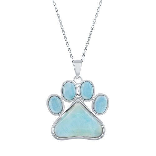 9347a2040 Sterling Silver Larimar Paw Print Pendant Necklace