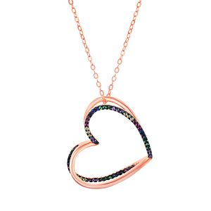 14k Rose Gold Over Silver Cubic Zirconia Heart Pendant Necklace