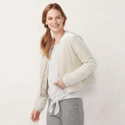 Women's LC Lauren Conrad Velvet Puffer Jacket