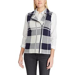 Women's Chaps Plaid Asymmetrical-Zip Vest
