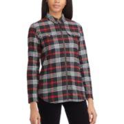 Women's Chaps Plaid Zip-Front Shirt