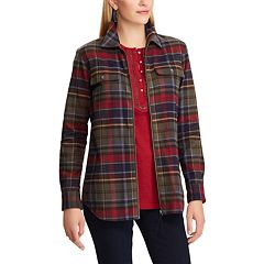 Women's Chaps Plaid Zip-Front Shirt