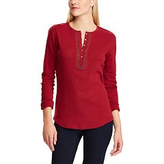Women's Chaps Embellished Henley Top