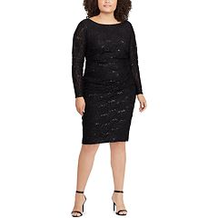 Plus Size Chaps Sequin Lace Sheath Dress