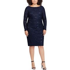 Plus Size Chaps Sequin Lace Sheath Dress Black Navy