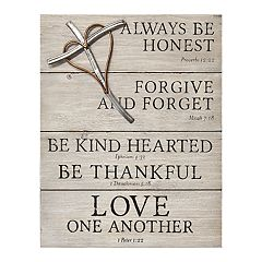 2099d9457b Stratton Home Decor Religious Sign with Cross Wall Decor