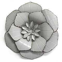 Stratton Home Decor Grey Metal Flower Wall Decor