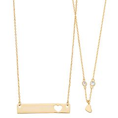 14k Gold Plated 'Best Friends' Open Heart Bar and Heart Necklace Set