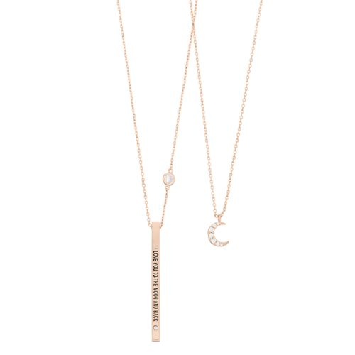 14k Gold Over Brass Cubic Zirconia Sisters Bar Necklace Set by Kohl's