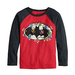 Boys 4-12 Jumping Beans® DC Comics Batman Christmas Lights Raglan Tee