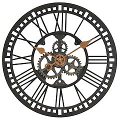 FirsTime & Co. Roman Gear Industrial Wall Clock