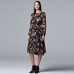 Women's Simply Vera Vera Wang Floral Pleated Fit & Flare Dress