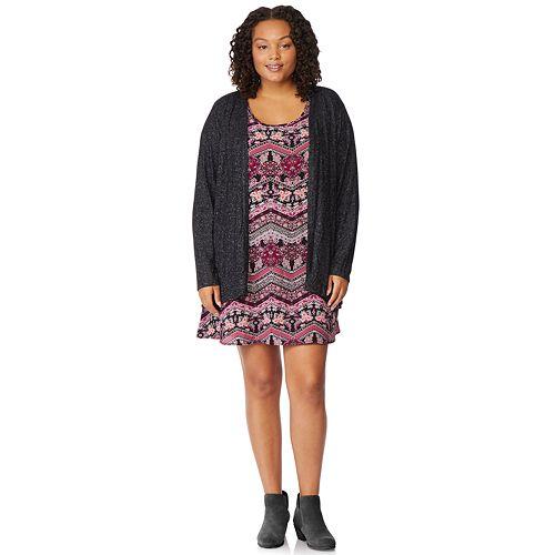 c54808fd47d Juniors  Plus Size WallFlower Swing Dress   Cardigan Set