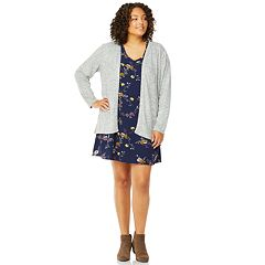 Juniors' Plus Size Wallflower Swing Dress & Cardigan Set