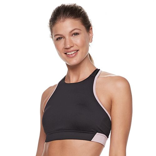 FILA SPORT® High Neck Wide Trim Medium-Impact Sports Bra