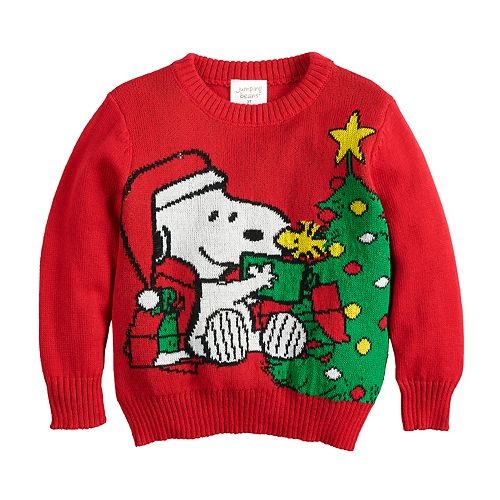Toddler Boy Jumping Beans® Peanuts Snoopy & Woodstock Holiday Knit Sweater