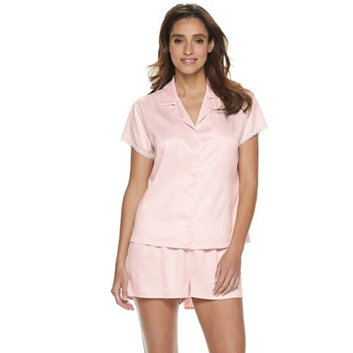 Women s Apt. 9® Notch Collar Satin Sleep Shirt   Shorts Pajama Set 4f1cd83a8