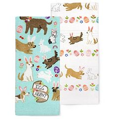 Celebrate Easter Together Easter Dog & Bunny Kitchen Towel 2-pack