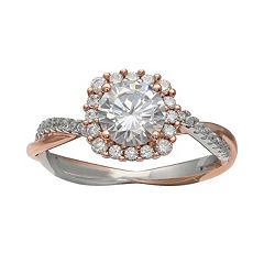 PRIMROSE Two Tone Sterling Silver Cubic Zirconia Cushion Halo Ring