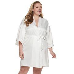 Plus Size Apt. 9® 'Mrs.' Satin Wrap Robe