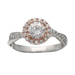 PRIMROSE Two Tone Sterling Silver Cubic Zirconia Halo Ring