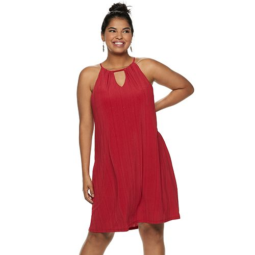 Juniors' Plus Size Candie's® Pleated Halter Swing Dress