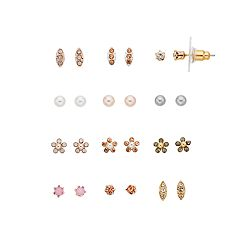 LC Lauren Conrad Flower & Simulated Crystal Stud Earring Set