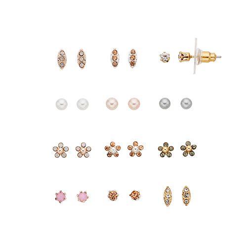 LC Lauren Conrad Flower & Simulated Crystal Stud Earring Set
