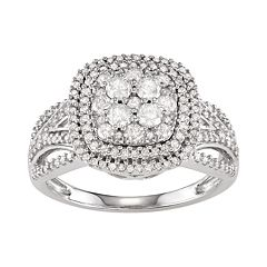 10k White Gold 1 Carat T.W. Diamond Cluster Cushion Ring