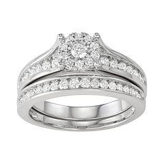 10k White Gold 3/4 ct. T.W. Diamond Engagement Ring Set