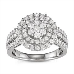 10k White Gold 1 1/2 ct. T.W. Diamond Tiered Cluster Ring
