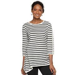 Women's Croft & Barrow® Textured Shark-Bite Hem Sweater