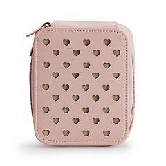 LC Lauren Conrad Perforated Heart Zip-Around Jewelry Bag