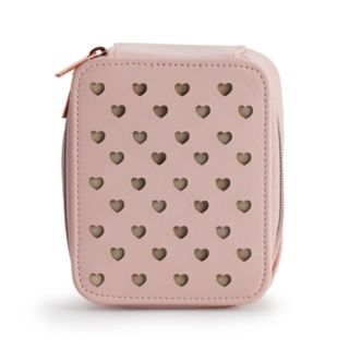LC Lauren Conrad Perforated Heart Zip-Around Jewelry Bag