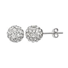 Primrose Sterling Silver Crystal Ball Stud Earrings