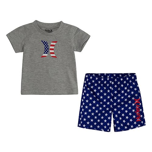 Baby Boy Hurley 2-Piece Americana T-Shirt and Board Shorts Set